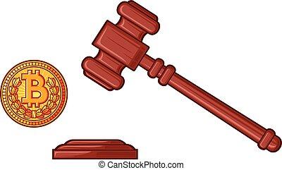 概念, 立法, -, bitcoin, cryptocurrency, 裁判官, ハンマー