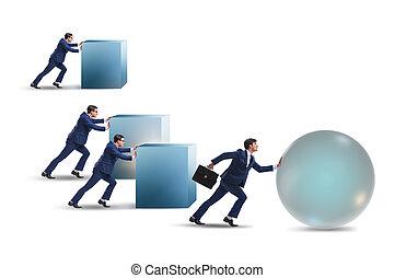 概念, 競争, ライバル, ビジネスマン, 乱打, 競争