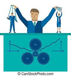 概念, 管理, ベクトル, ビジネス 実例