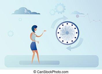 概念, 管理, 事務, 鐘, 婦女, 時間