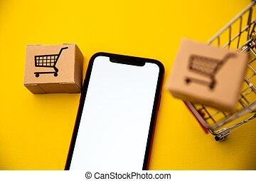 概念, 箱, logistic., mockup, テキスト, smartphone., オンラインで, ビジネス, 買い物, retail., ecommerce, ワゴン, 交通機関, スペース, market.