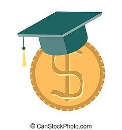 概念, -, 節約, 奨学金, educatio, より高く