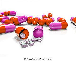 概念, 紙幣, 支払われた, タブレット, 薬, 高い