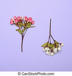 概念, 紫色, -, に対して, 明るい, 背景, 花, 最小である