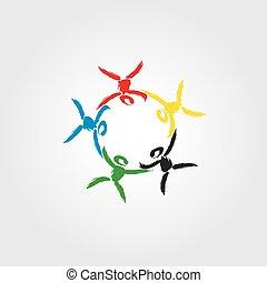 概念, 組合, 共同体, ロゴ, 団結, 子供, パートナー