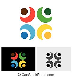 概念, 結び付き, アイコン, &, ベクトル, ロゴ, 信頼, 友情, 関係