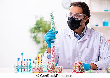 概念, 統合, 薬, マレ, 化学者, 若い