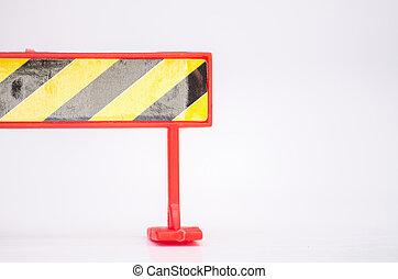 概念, 維持, 理想, 建設, バリケード, 背景, 白, 道は 閉まった