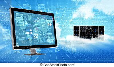 概念, 網際網路, 雲, 服務器