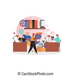 概念, 網, ベクトル, 旗, ウェブサイト, 図書館, ページ