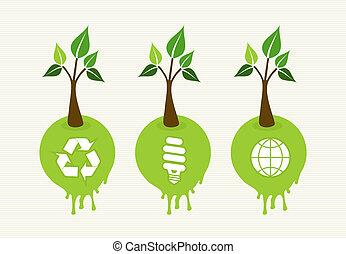 概念, 緑, セット, 木, アイコン