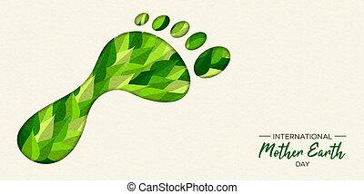 概念, 緑, 炭素, 足跡, アースデー
