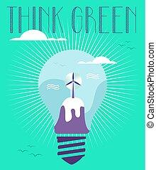 概念, 緑, 考え