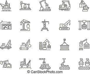 概念, 線である, セット, アイコン, イラスト, アクセス, 装置, ベクトル, 線, サイン, アウトライン