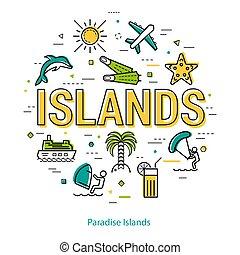 概念, 線である, -, パラダイス, 島, ラウンド