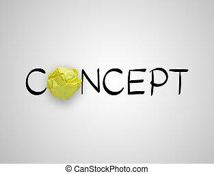 概念, 纸, 黄色, 措词