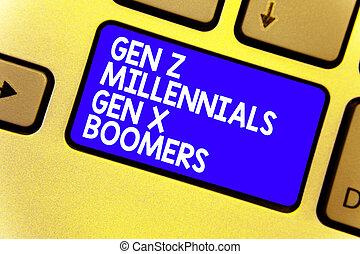 概念, 老人, テキスト, コンピュータ, generational, キーボード, 青, 作成しなさい, 計算, 若い, 執筆, intention, ビジネス, 相違, キー, gen, 単語, 反射, boomers., millennials, x, z, document.