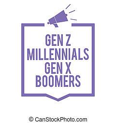 概念, 老人, テキスト, フレーム, generational, 拡声器, 紫色, 若い, 執筆, メガホン, コミュニケートする, 相違, 意味, 重要, information., gen, boomers., millennials, x, 手書き, z