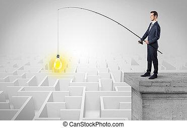 概念, 考え, 新しい, 釣り, ビジネスマン, 迷路