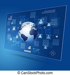 概念, 联系, 全球, 技术