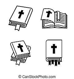 概念, 聖書, book., ベクトル, イラスト, 背景, 白, アイコン