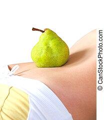 概念, 胃, 上に, ナシ, 隔離された, 食事, バックグラウンド。, フルーツ, 女, 健康, 白