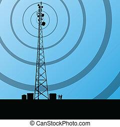 概念, 背景, 流動, 電訊, 電話, 矢量, 收音机, 基礎, 車站, 塔, 或者