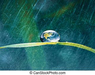 概念, 能量, 下降, 水, 綠色, 地球, 新鮮