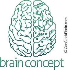 概念, 脳, 電気である, 板, 回路, 半分