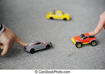 概念, 自動車, -, 幼年時代, おもちゃ, 潔白, 遊び