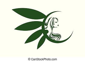概念, 自然の美しさ, ベクトル, エステ, ロゴ