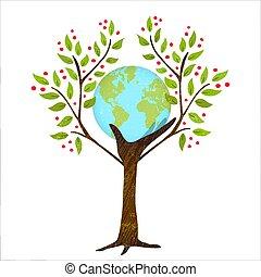 概念, 自然, 木, 手, 緑地球