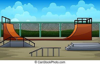 概念, 自然, 背景, skatepark