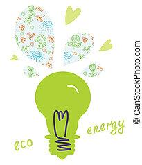 概念, 自然, eco, ライト, エネルギー, 電球