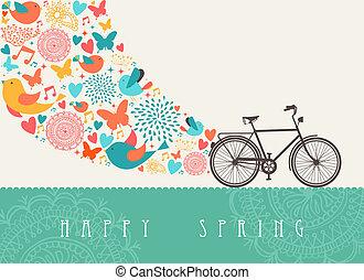 概念, 自転車, 春