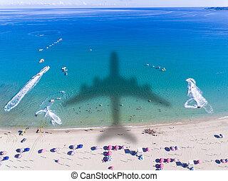 概念, 航空写真, 旅行, 熱帯 浜, 光景