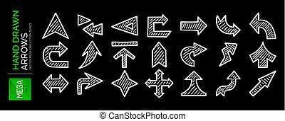 概念, 航行, mega, 圖象, 方向, 遞 集合, 下載, arrows., 畫, 其他, 位置