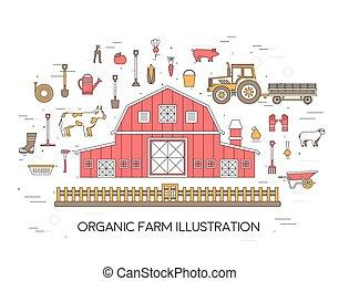 概念, 花, トラクター, セット, 村, 成果, 建物, design., 道具, スタイル, clothing., 道具, タイル, 干し草, 野菜, 家畜, イラスト, 背景, 有機体である, ライン, ベクトル, 薄くなりなさい