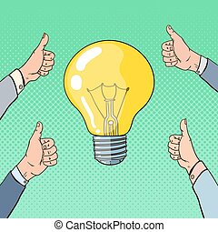 概念, 芸術, ビジネス, ライト, 提示, 考え, ポップアップ, 親指, 手, 電球