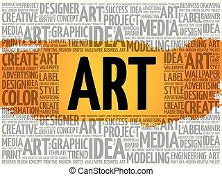 概念, 芸術, ビジネス, 創造的, 単語, 雲