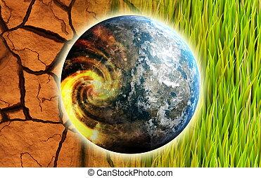 概念, 芸術, 世界的である, 地球, 問題, 暖まること