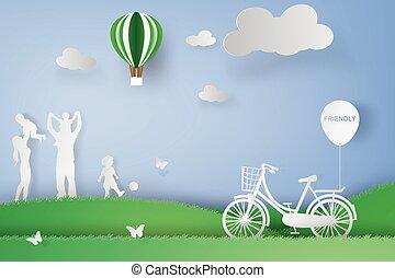 概念, 芸術, 家族, ペーパー, 楽しみ, 持つこと, 幸せ