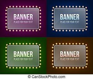 概念, 芸術, 抽象的なデザイン, 広告板, 照らされた, 電球, 隔離された, 創造的, バックグラウンド。, 白熱, ハリウッド, ひも, lights., イラスト, 旗, 透明, 輝き, グラフィック, 要素, 現実的, ベクトル