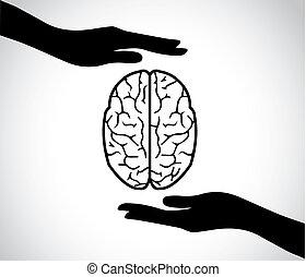 概念, 芸術, 精神, 心, シンボル, -, イラスト, 手, 脳, シルエット, ベクトル, デザイン, 人間, 保護, サービス, 健康, ∥あるいは∥, アイコン