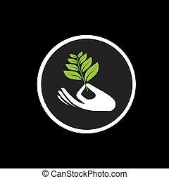 概念, 芽, -, 手, ベクトル, 黒, 印, アイコン