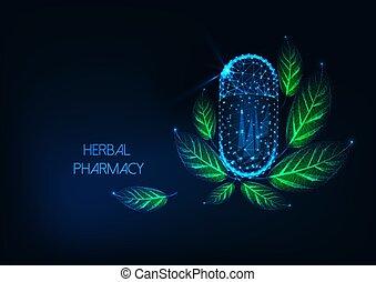概念, 草, 白熱, 緑, polygonal, カプセル, 低い, 丸薬, leaves., 未来派, 薬局