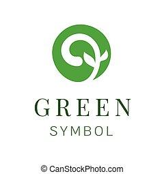 概念, 葉, シンボル, 木, 創造的, 緑, ロゴ, デザイン, template.