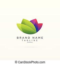 概念, 葉, ビジネス専門家, 緑, ロゴ, デザイン, あなたの