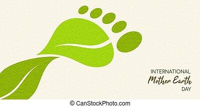 概念, 葉, 緑, 炭素, 足跡, アースデー