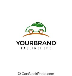 概念, 葉, 自動車, ベクトル, デザイン, テンプレート, ロゴ